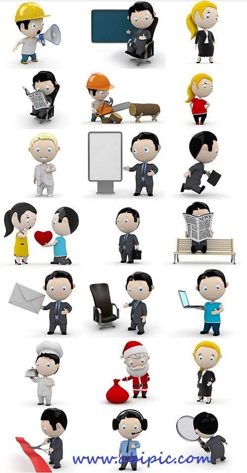 دانلود تصاویر آدمک های 3 بعدی در موقعیت های مختلف Social 3D Characters