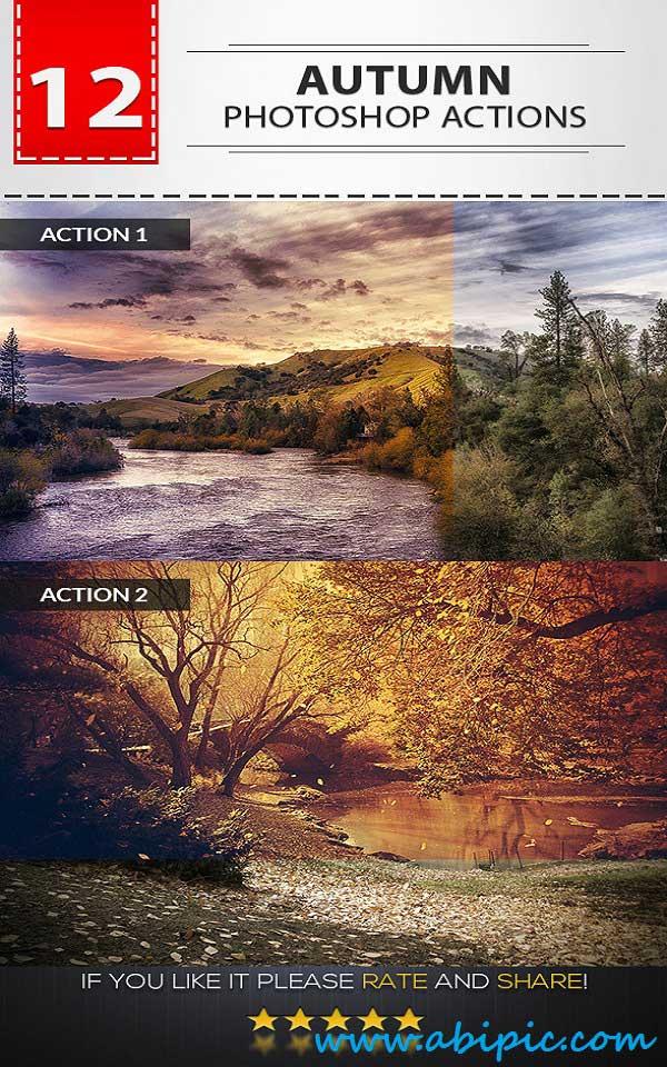 دانلود 12 اکشن پاییزی فوق العاده زیبا Autumn Photoshop Actions