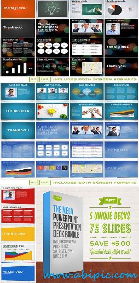 دانلود قالب حرفه ای پاورپوینت سری شماره 14 Mega PowerPoint Pres Deck Bundle