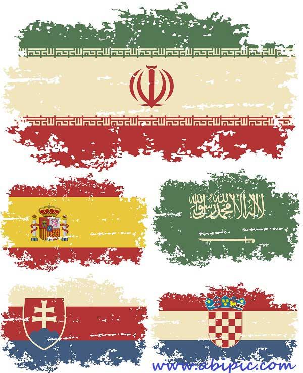 دانلود وکتور پرچم با طرح گرانج 25 کشور Grunge Flags of the World
