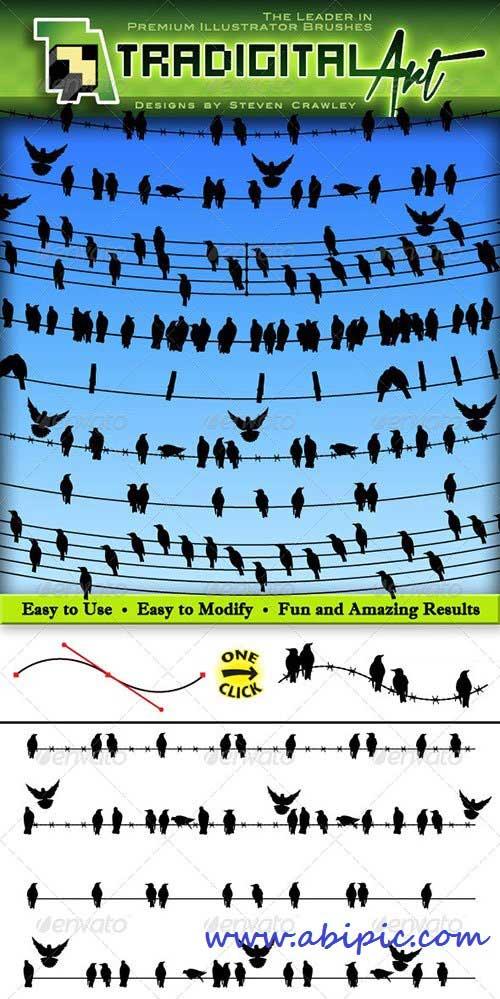 دانلود براش وکتور و طرح لایه باز پرنده روی سیم Birds on a Wire Brushes Set
