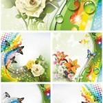 دانلود وکتور پس زمینه با طرح گل و پروانه Fantastic backgrounds flowers and butterflies