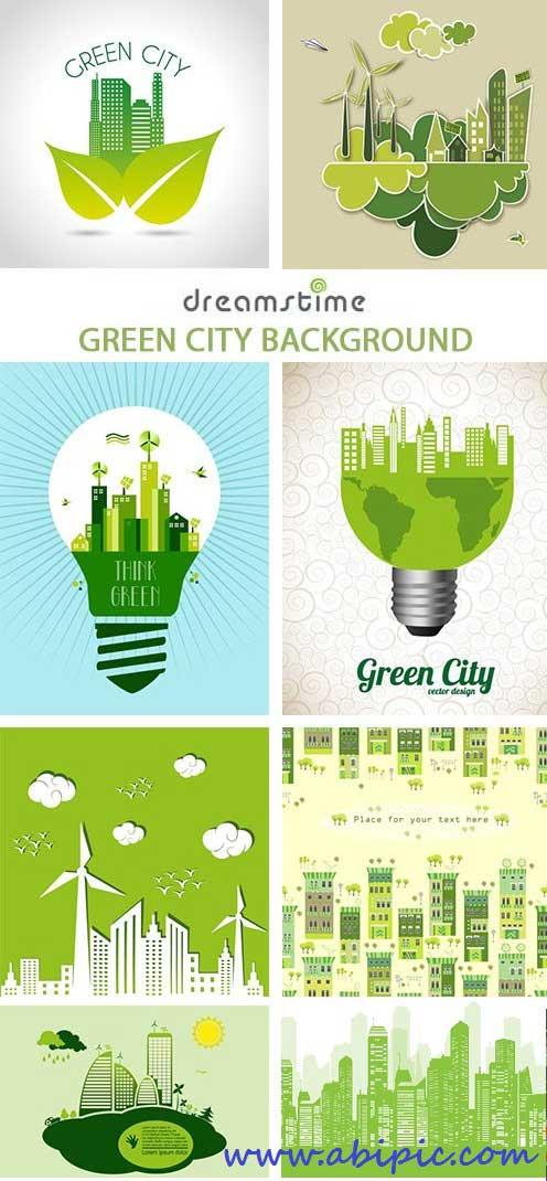دانلود مجموعه وکتورهای با موضوع شهر سبز Green City Background