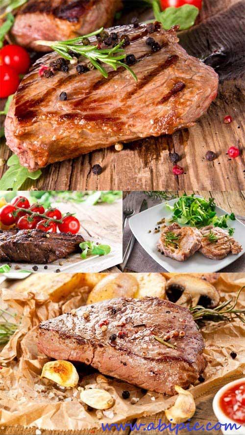 دانلود عکس استوک استیک گوشت Photos Fried Meat Steaks