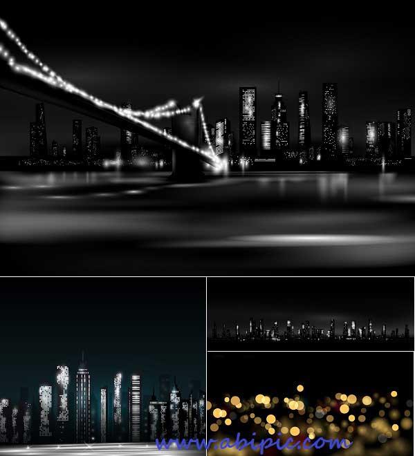دانلود وکتور پس زمینه شهر در شب Night city Vector