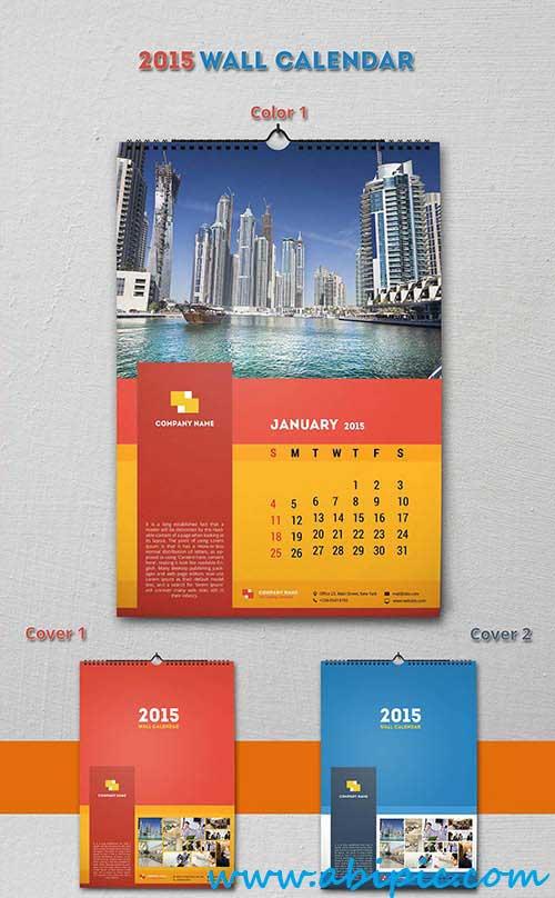 دانلود طرح لایه باز تقویم دیواری سال 2015 PSD Sources 2015 Wall Calendar