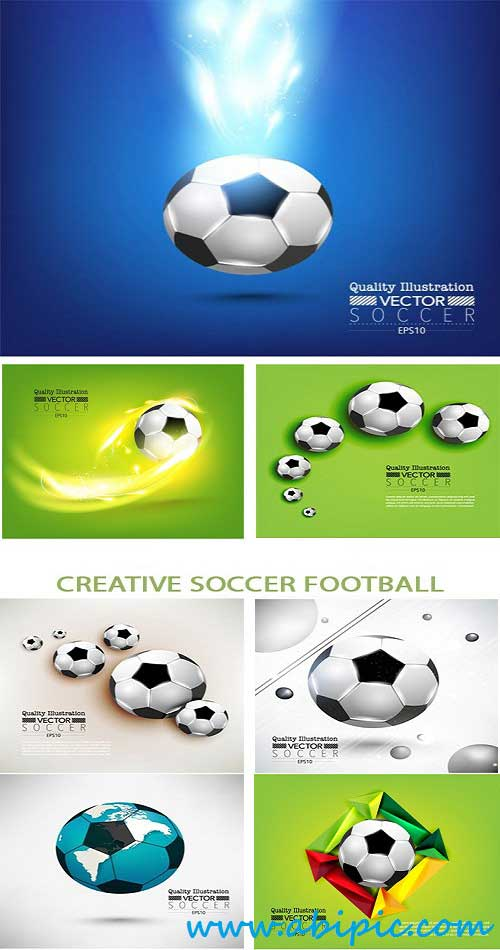 دانلود وکتور توپ فوتبال Stock Vector Creative Soccer Football