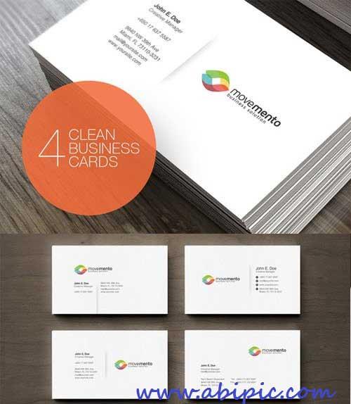 دانلود 4 طرح لایه باز کارت ویزیت شماره 134 Clean Business Cards