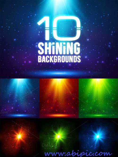دانلود 10 وکتور پس زمینه با نورهای جادویی Magic light backgrounds