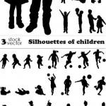 دانلود وکتور سیوئت بازی کودکان Vectors – Silhouettes of children