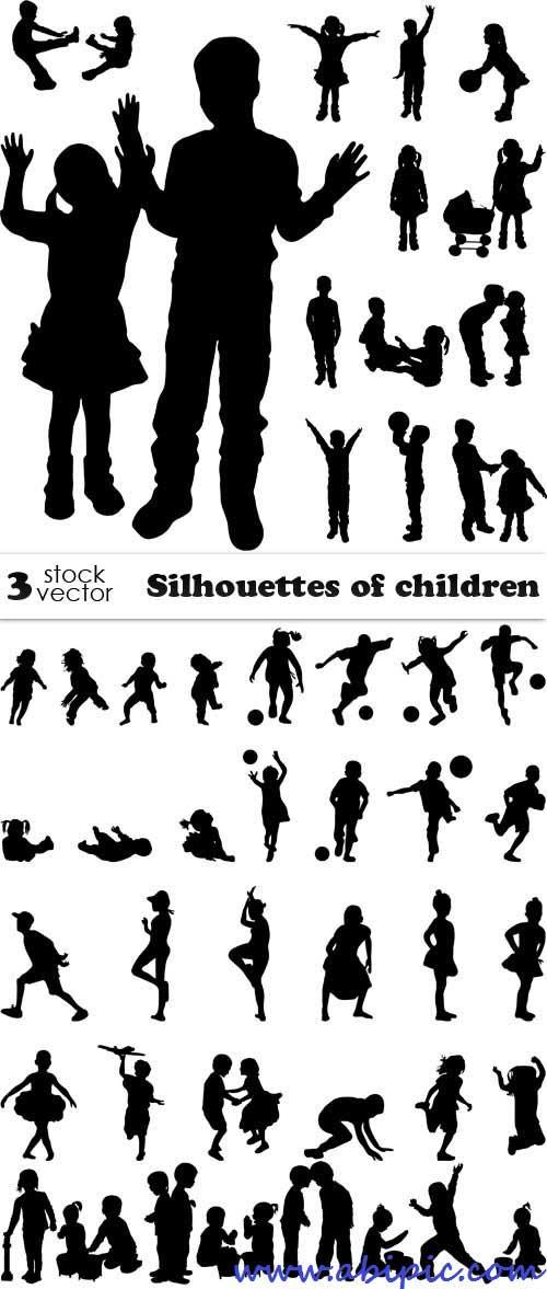 دانلود وکتور سیوئت بازی کودکان Vectors - Silhouettes of children