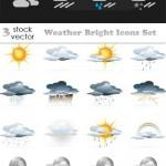 دانلود وکتور آیکون های هواشناسی و آب و هوا Vectors – Weather Bright Icons Set