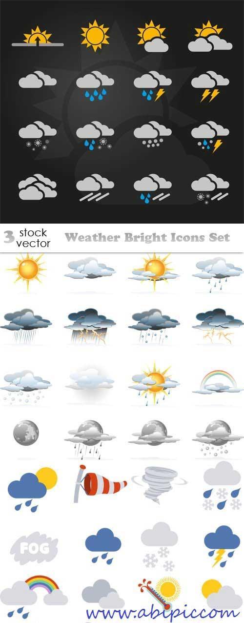 دانلود وکتور آیکون های هواشناسی و آب و هوا Vectors - Weather Bright Icons Set