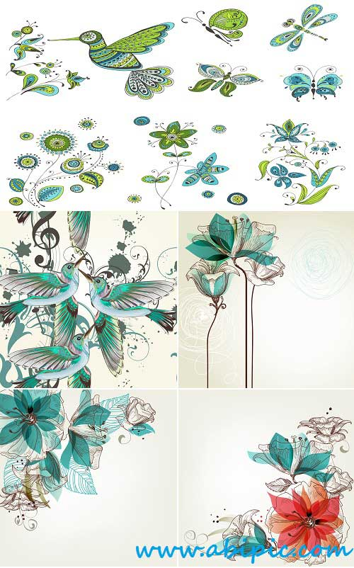 دانلود وکتور پس زمینه با طرح گل و پرنده Vector Birds and flowers