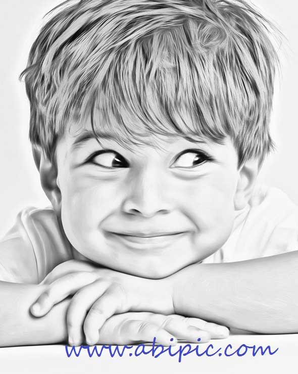 دانلود اکشن تبدیل عکس به نقاشی سری جدید Clean Sketch Photoshop Action