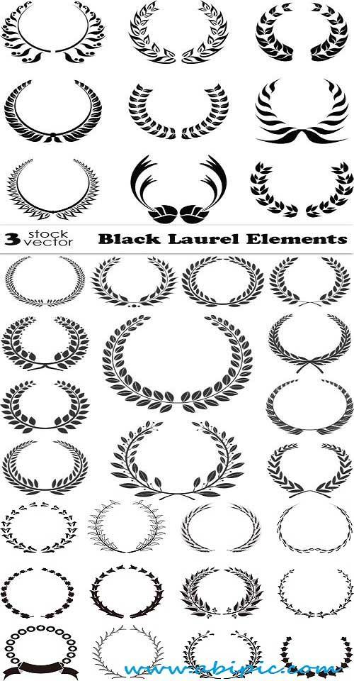 دانلود وکتور عناصر با طرح برگ Vectors Black Laurel Elements