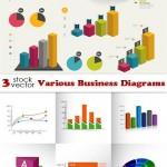 دانلود وکتور نمودارها و دیاگرام ها Vectors Various Business Diagrams