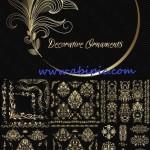 وکتور مجموعه عظیم المان ها و عناصر طراحی طلایی شماره 4 Decorative Golden ornaments