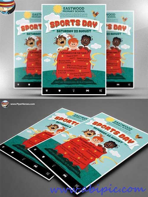 دانلود طرح لایه باز پوستر مهد کودک Kid's Sports Day Flyer Template