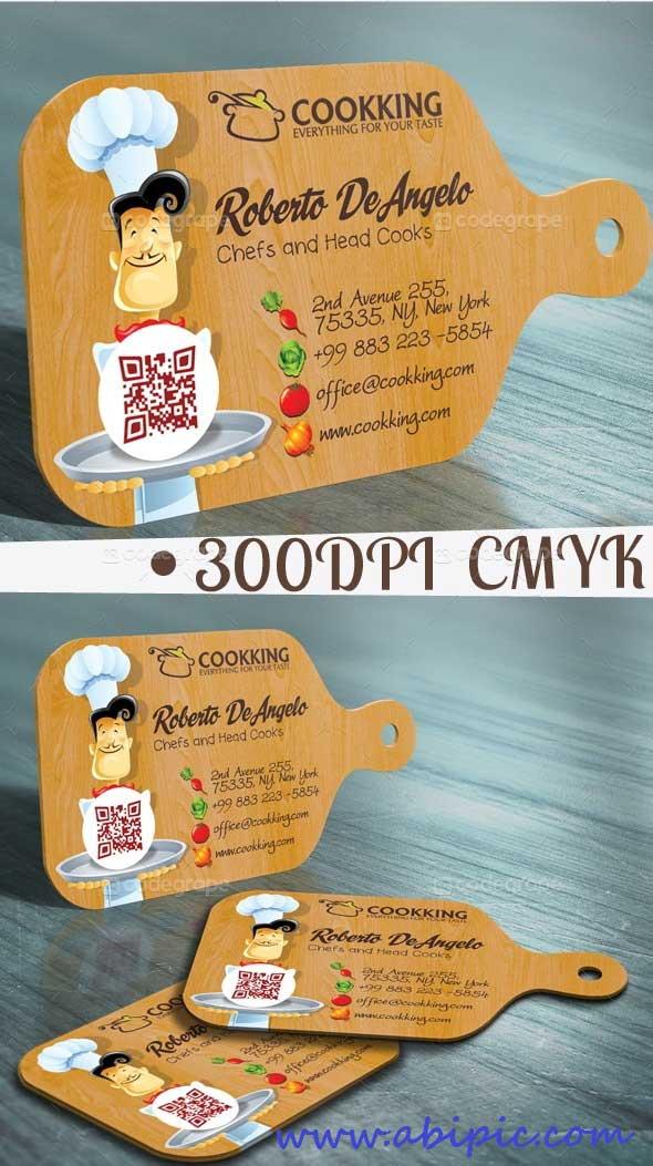 دانلود طرح لایه باز کارت ویزیت آشپز و رستوران شماره 2 Chef Cook Business Card