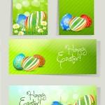 دانلود وکتور بنر برای عید نوروز Set of Easter Cards with Grass