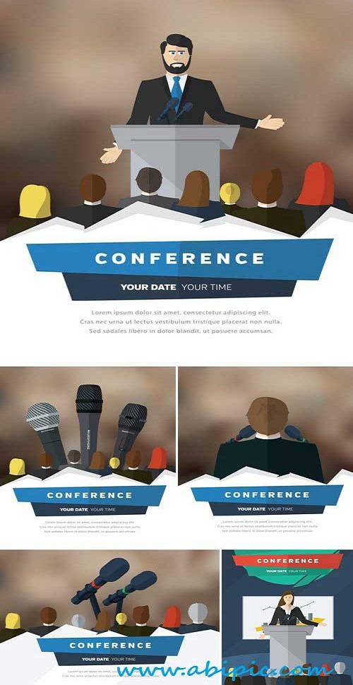 دانلود وکتور تریبون سخنرانی Stock Vectors Conference