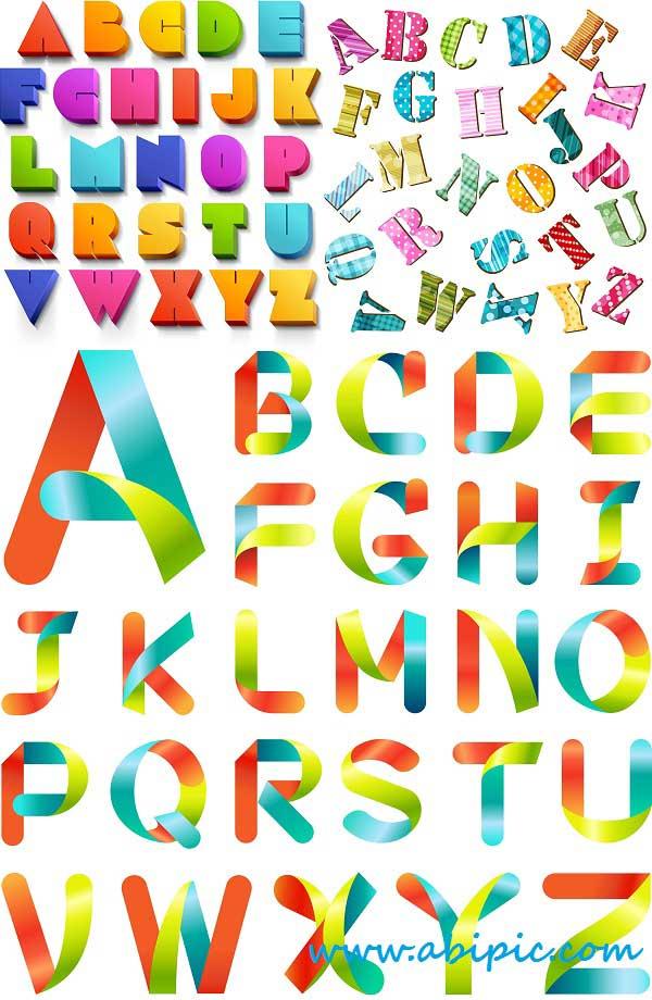 دانلود وکتور حروف الفبای انگلیسی Vectors Abstract Alphabets