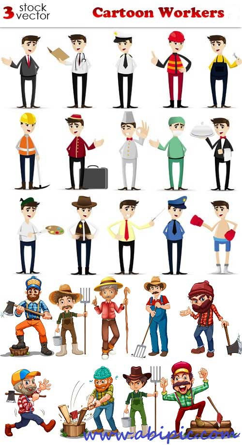 دانلود وکتور مردم و مشاغل مختلف Vectors - Cartoon Workers