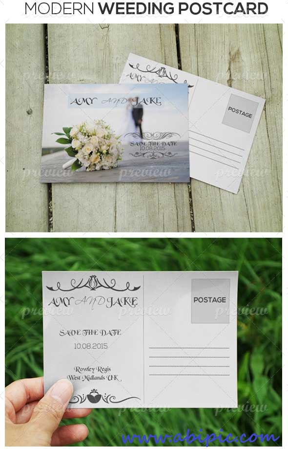 دانلود طرح لایه باز کارت دعوت عروسی شماره 4 Modern Style Wedding invitation Post Card