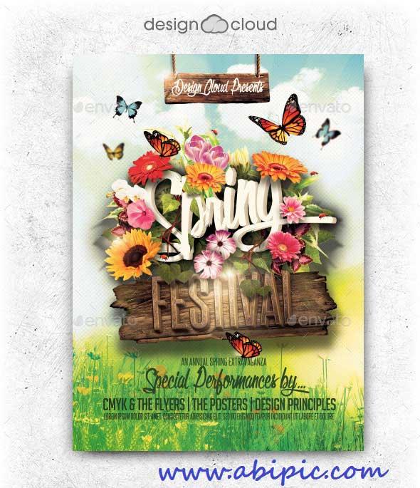 دانلود طرح لایه باز پوستر مخصوص عید نوروز Spring Festival Flyer Template