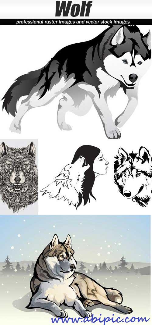 دانلود وکتور طراح های زیبا از گرگ سری 2 Wolf Vector