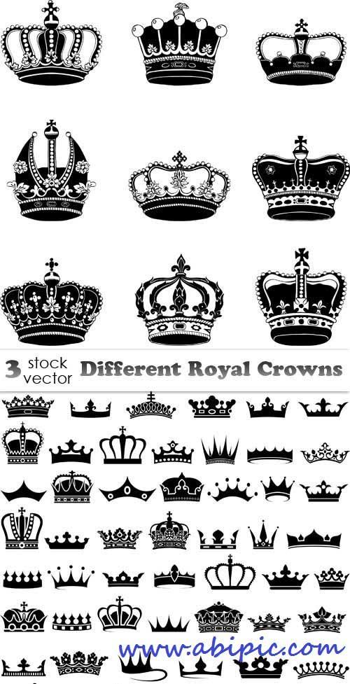 دانلود وکتور انواع مختلف تاج Vectors - Different Royal Crowns
