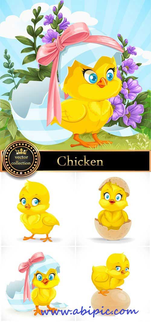 دانلود کتور جوجه شماره 2 Funny chicken vector