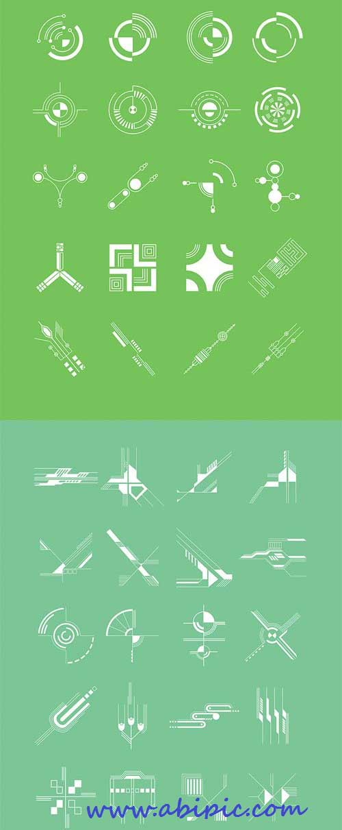 دانلود شیپ های آماده تکنولوژی پیشرفته Abstract Shapes 40 Hi-Tech Shapes