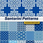 دانلود وکتور الگوی های یکپارچه و پیوسته سانتورینی شماره 10 Vector Santorini Patterns