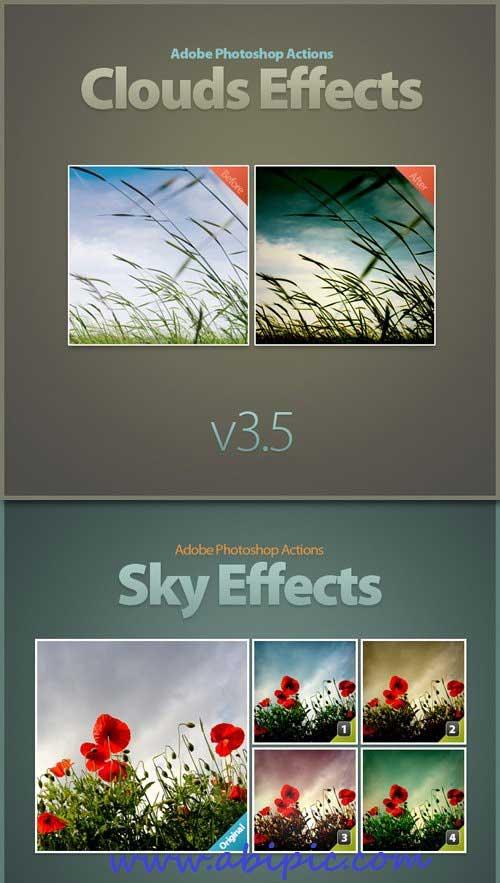 دانلود اکشن فتوشاپ افکت هوای ابری و آسمان Photoshop Actions Clouds Sky Effects