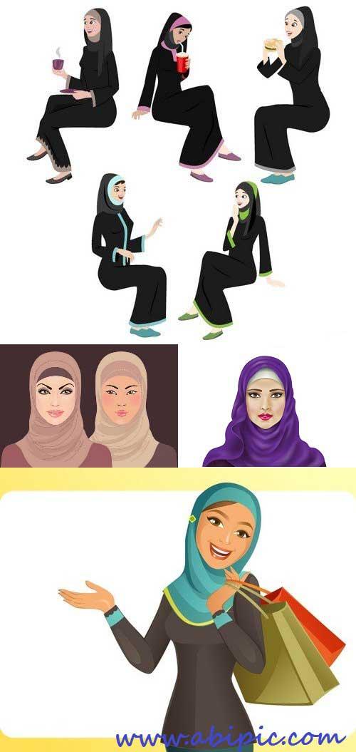 دانلود مجموعه وکتورهای زن مسلمان Stock Vectors - Muslim woman