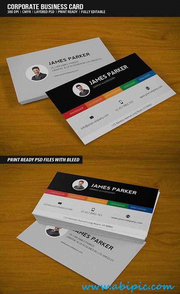 دانلود طرح لایه باز کارت ویزیت شماره 139 Corporate Business Card