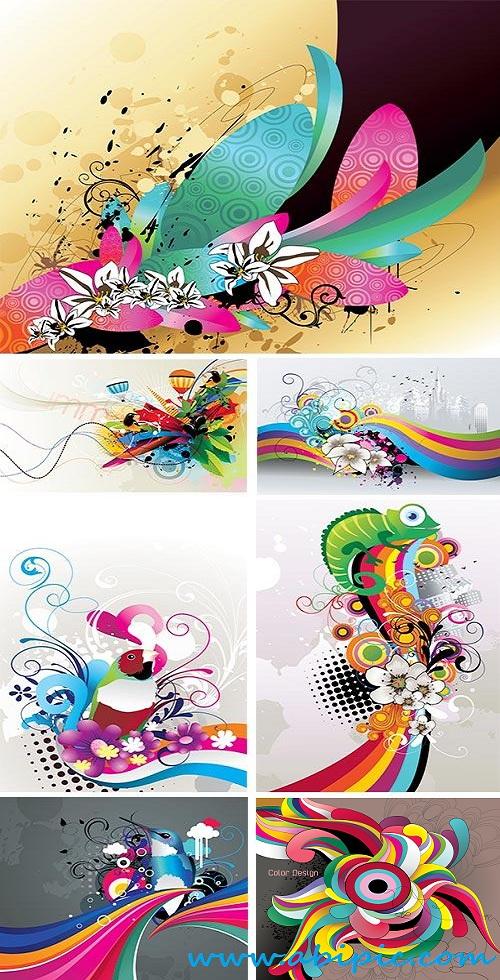 دانلود وکتور پس زمینه انتزاعی گلدار Flowers abstract color vector