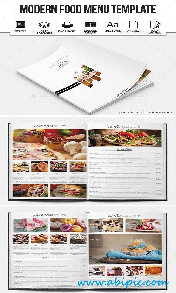 دانلود طرح لایه باز منو غذا PSD Modern Food Menu Design