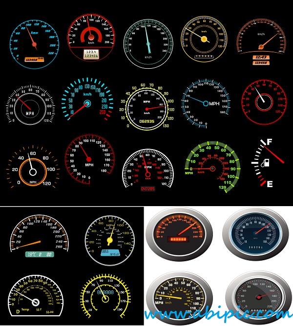 دانلود وکتور انواع کیلومتر و سرعت سنج Vectors Different Shiny Speedometers