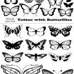 دانلود وکتور تتو با طرح پروانه Vectors Tattoo with Butterflies