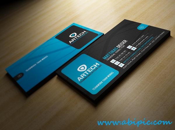 دانلود طرح لایه باز کارت ویزیت شماره 138 Black And Blue Business Card