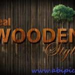 دانلود طرح لایه باز افکت متن چوب Beauty Wooden Style