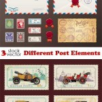 دانلود وکتور علائم و نشان های پست Vectors – Different Post Elements