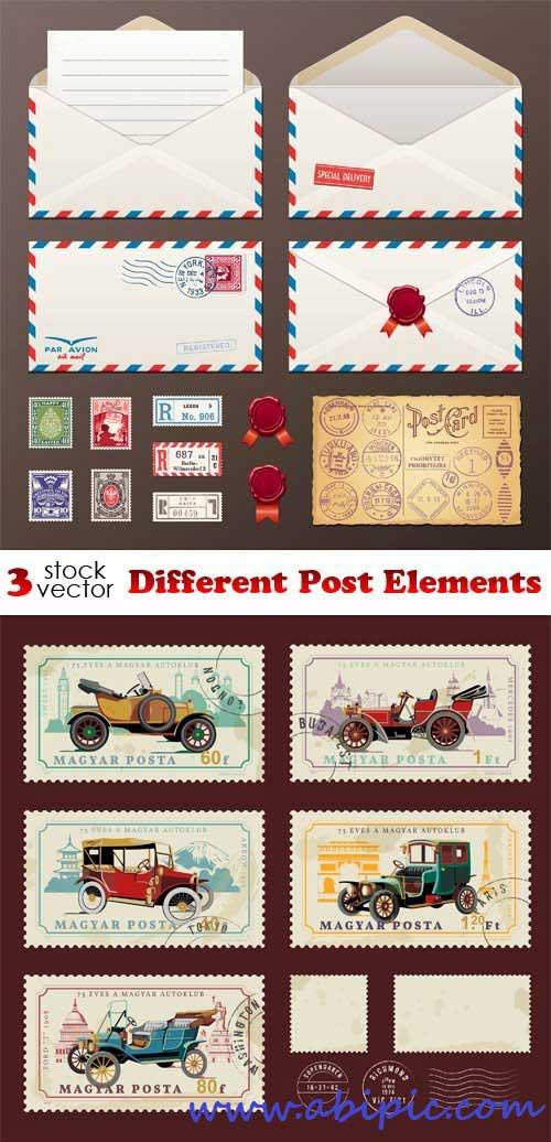 دانلود وکتور علائم و نشان های پست Vectors - Different Post Elements