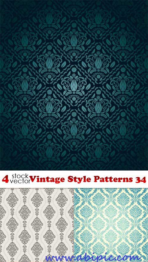 دانلود وکتور پترن های یکپارچه قدیمی شماره 10 Vectors Vintage Style Patterns