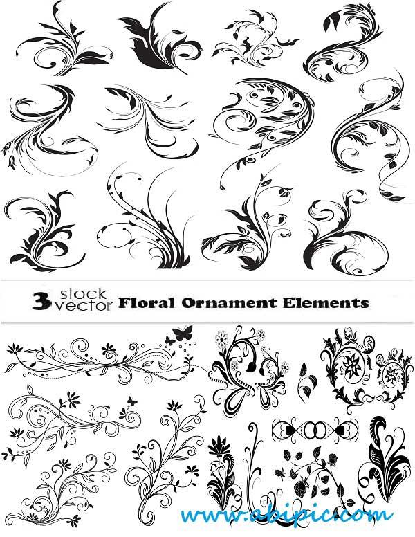 دانلود وکتور المان های تزئینی گل و بوته شماره 18 Vectors Floral Ornament Elements