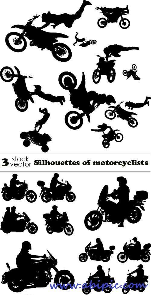 دانلود وکتور سیلوئت موتور سیکلت Vectors Silhouettes of motorcyclists