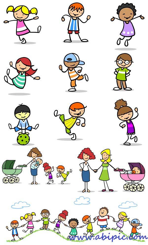 دانلود تصاویر استوک طرح های کارتونی خانواده Close-knit family